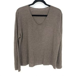 Brown 100%Wool V Neck Long Sleeve Pullover Sweater